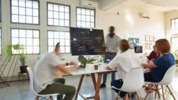 Timelapse casual creative team of professionals having meeting in office