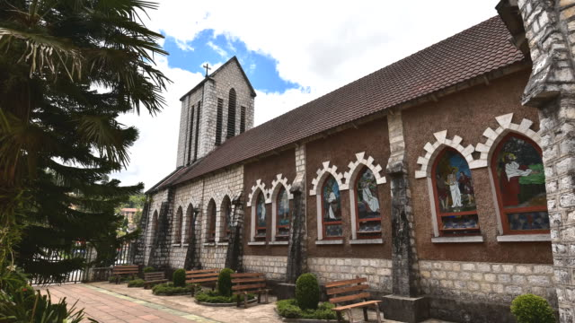 timelapse. catholic holy rosary church in sapa - asian tribal culture stock videos and b-roll footage