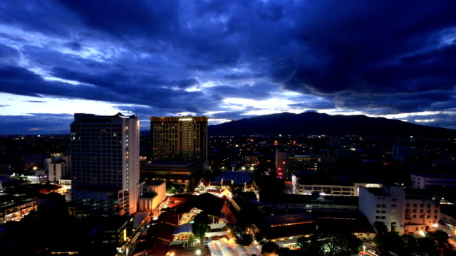 hd time-lapse : chiang mai cityscape day to night time lapse - sequential series stock videos & royalty-free footage