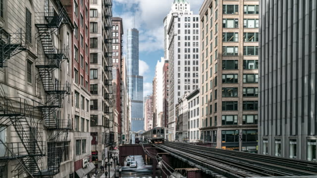 time-lapse: chicago loop metro train station with skylines building downtown chicago il usa - chicago loop stock videos and b-roll footage