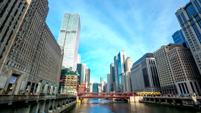 hd time-lapse: chicago river with skyline cityscape usa - willis tower stock videos and b-roll footage