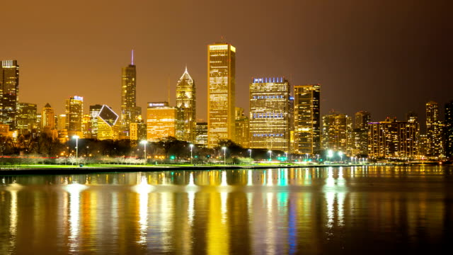 HD Time-lapse: Chicago Skyline Cityscape at night USA