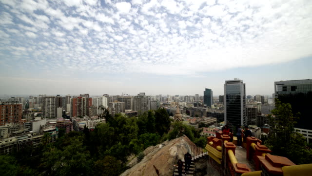 vídeos de stock e filmes b-roll de time-lapse : chile, santiago, view of the santa lucia hill. - chile