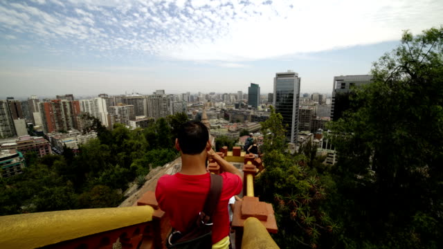 stockvideo's en b-roll-footage met time-lapse: chili, santiago, uitzicht op de heuvel van santa lucia. - chile