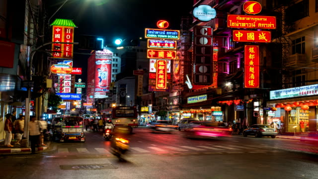 HD Timelapse : China town at night