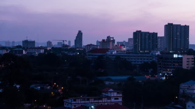 Time-lapse City day to night pattaya in thailand 4k footage