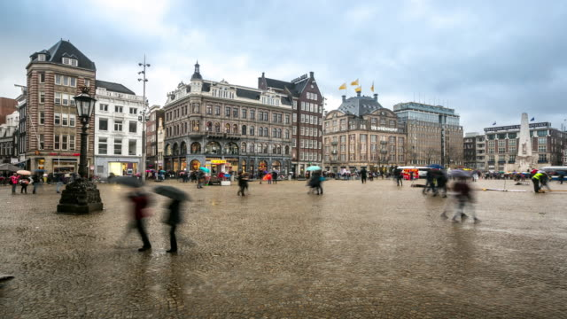 Time-lapse: City Pedestrian and Dam Square Amsterdam
