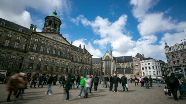4K Time-lapse: City Pedestrian at Dam Square Amsterdam and Palace