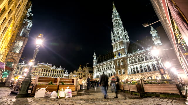 HD Time-lapse: City Pedestrian at Grand Place Brussels Belgium night