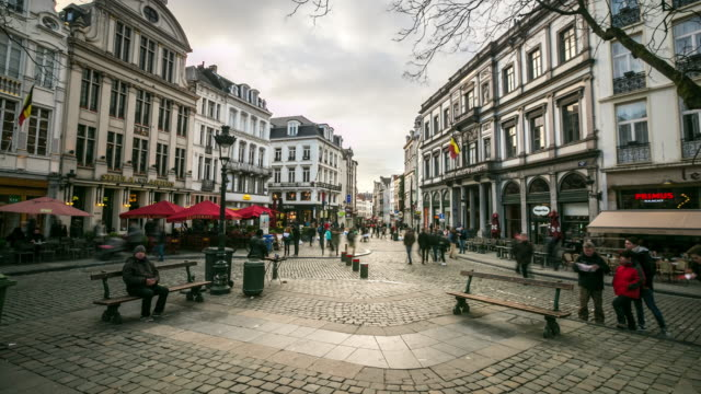 Time-lapse: City Pedestrian at Grand Place Brussels Belgium