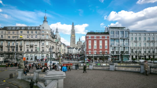 4K Time-lapse: City Pedestrian crowded Antwerp Belgium