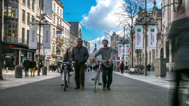 Time-lapse: City Pedestrian Meir shopping street Antwerp Belgium