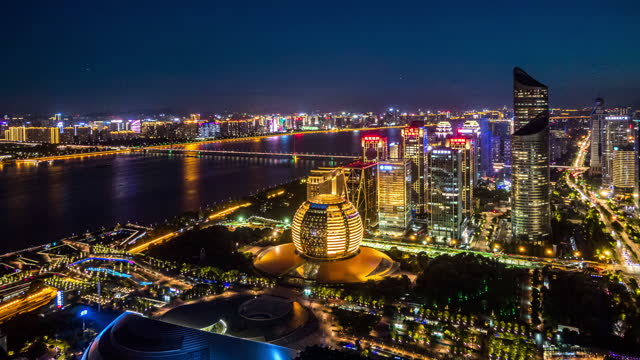 timelapse city skyline sunset hangzhou - traffic time lapse stock videos & royalty-free footage