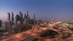 4K Timelapse - Cityscape and urban skyline at sunset in Marina Dubai UAE.