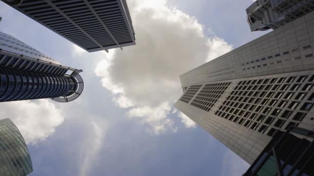 4 コマ k: 都市景観室背景雲で覆われています。 - 真下からの眺め点の映像素材/bロール