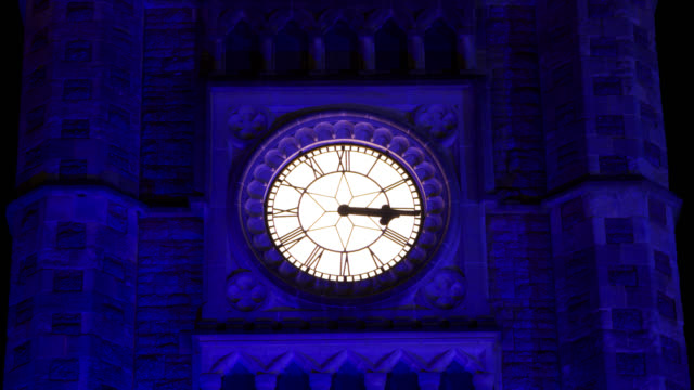 timelapse clock hands turn through an hour outside train station, bristol, uk - clock stock videos & royalty-free footage
