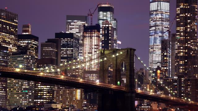 time-lapse: cloes up brooklyn bridge at sunset twilight, new york city ny usa - brooklyn bridge stock videos & royalty-free footage