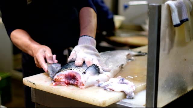 vídeos de stock e filmes b-roll de 4k timelapse: close up hand of professional fishermen preparing salmon fish by slice and cutting at fish market - salmão peixe