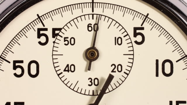 Timelapse. Close up of a stopwatch starting from zero and accelerating then going backwards and slowing down to zero.