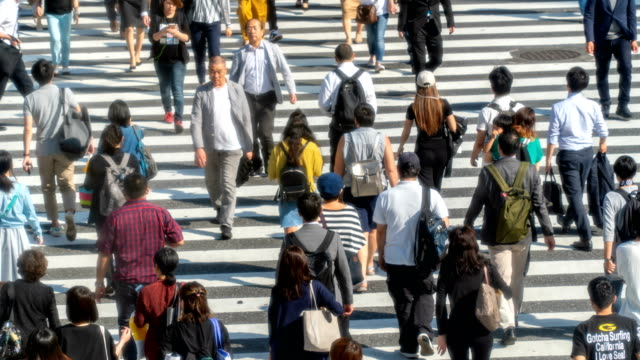 timelapse - close up shot of pedestrians at shibuya crossing - ginza stock videos & royalty-free footage