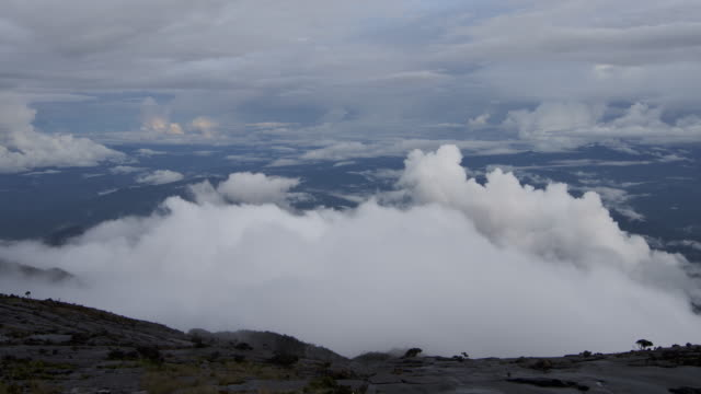 Timelapse clouds billow as sun sets, Mount Kinabalu, Borneo