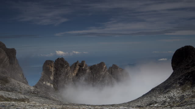 Timelapse clouds billow over rocky peaks, Mount Kinabalu, Borneo