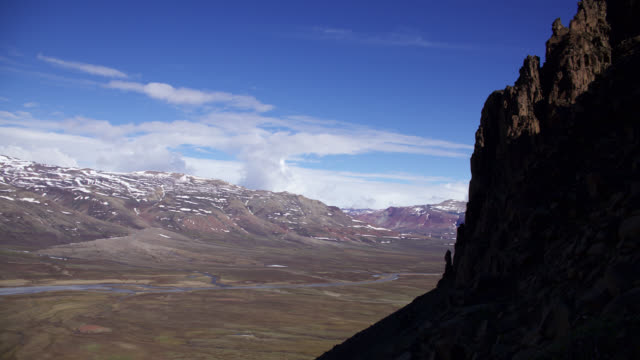 Timelapse clouds billow over valley and tundra, Greenland