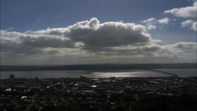 timelapse clouds drift over river tay and city of dundee, scotland, uk - dundee scotland stock videos and b-roll footage