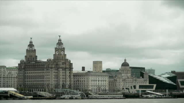 timelapse clouds over liverpool skyline - merseyside stock videos & royalty-free footage