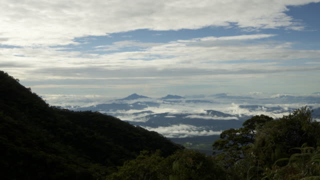 timelapse clouds shroud forested mountainside, mount kinabalu, borneo - mt kinabalu national park stock videos and b-roll footage