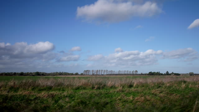 timelapse clouds travelling over flat fenland countryside - furzen stock-videos und b-roll-filmmaterial