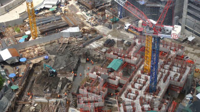 4K Time-lapse Construction crane and architecture building