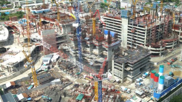 4K Time-lapse konstruktion kran och byggnaden arkitektur