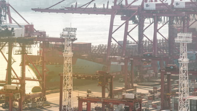 time-lapse: container loading and unloading to cargo ship freight at maritime container port tsing yi port of hong kong sunrise - tractor stock videos & royalty-free footage