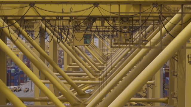 Timelapse cranes operating at container port, Jebel Ali, Dubai