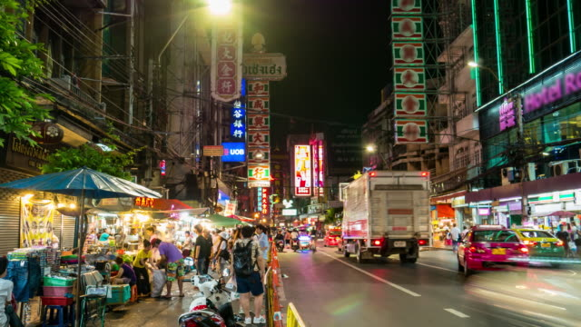 Timelapse, Crowd of people in Chinatown Bangkok Thailand