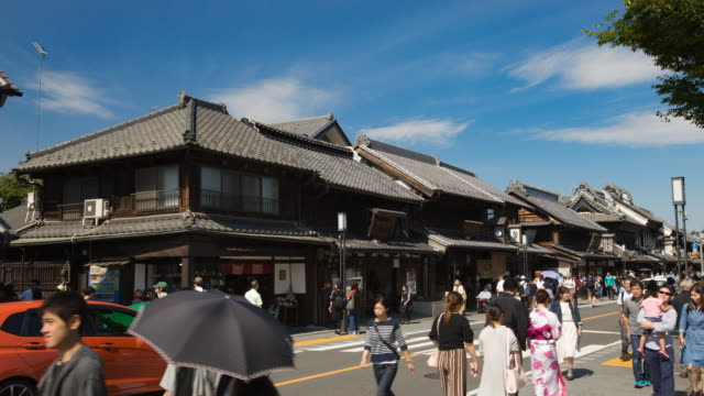 4K Time-lapse : Crowd of tourist walking at Kawagoe Little Edo old town street
