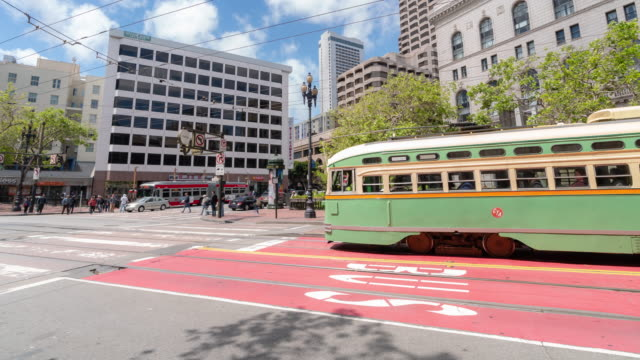 time-lapse crowd pedestrians tourist and cable car at market street in san francisco california usa - cable car stock videos & royalty-free footage