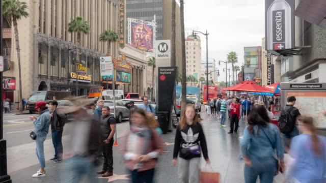 time-lapse crowd pedestrians tourist at hollywood in los angeles california usa - avenue stock videos & royalty-free footage