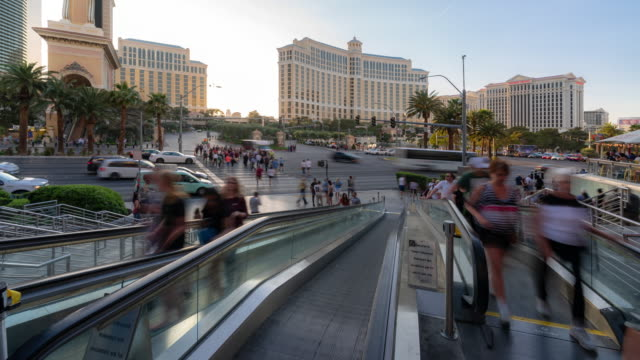 time-lapse crowd pedestrians tourist at las vegas strip boulevard in las vegas nevada usa - boulevard stock videos & royalty-free footage