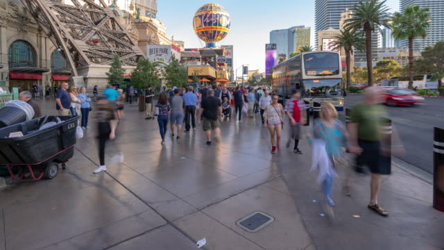time-lapse crowd pedestrians tourist at las vegas strip boulevard in las vegas nevada usa - gambling stock videos & royalty-free footage