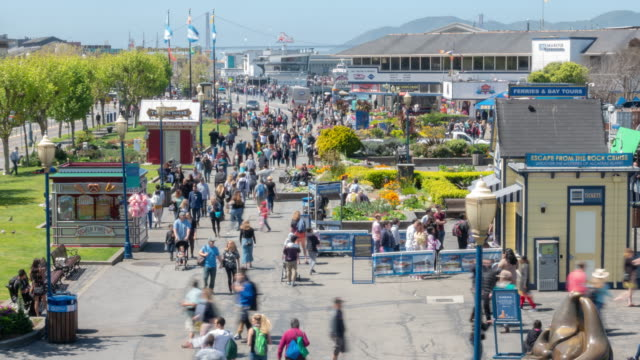 time-lapse crowd pedestrians tourist at pier 39 of san francisco california usa - seeing paris: on the boulevards stock videos & royalty-free footage