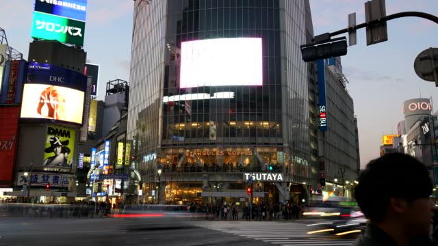 timelapse crowd people at Shibuya crosswalk in Japan
