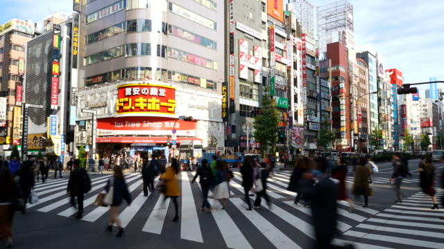 timelapse menigte mensen bij Shinjuku in Tokio