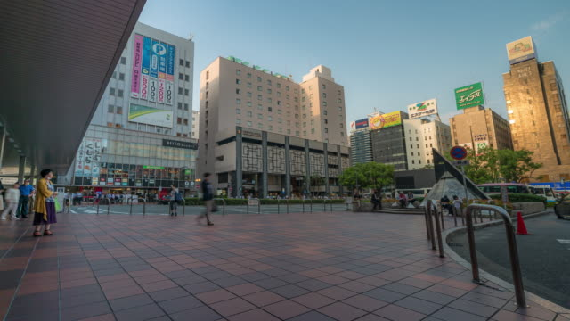 time-lapse: crowded at taxi stand of hakata station in fukuoka city japan - taxi stand stock videos and b-roll footage