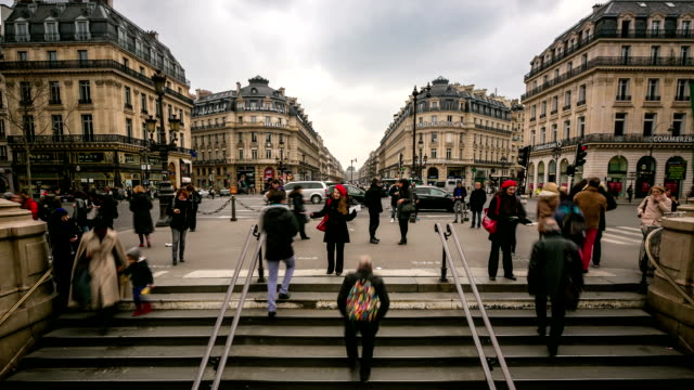 hd time-lapse: crowded pedestrian at opera paris - crowd of people stock videos & royalty-free footage