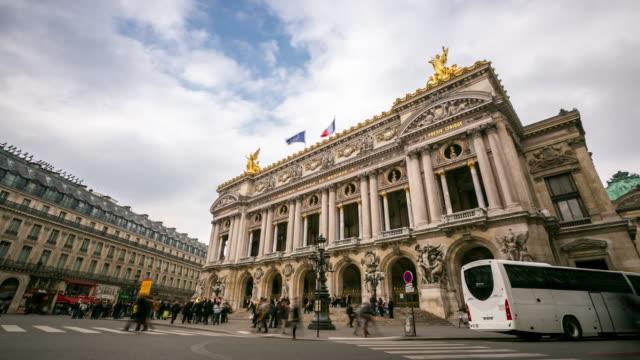 4K time-lapse: druk van de voetganger bij Opera Parijs