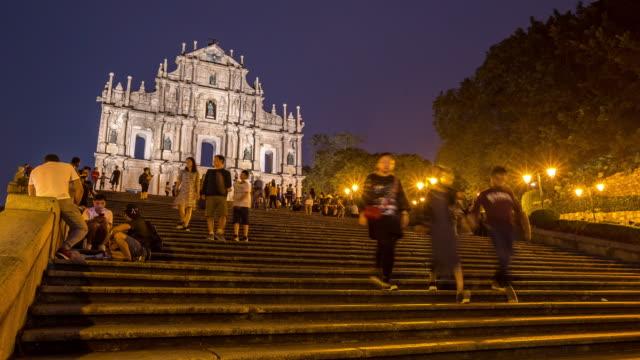 Zeitraffer überfüllter Fußgänger in den Ruinen der St. Paul es Cathedral Macau