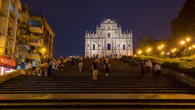Time-lapse crowded pedestrian at Ruins of St. Paul's Cathedral Macau