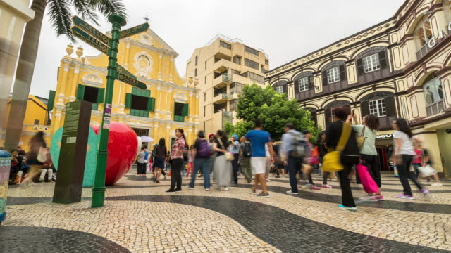 time-lapse crowded pedestrian at senado square macau, china - leal senado square stock videos and b-roll footage